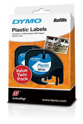 Picture of DYMO Genuine LetraTag Labeller Plastic 2PK Tape. 12mm x 4M White.