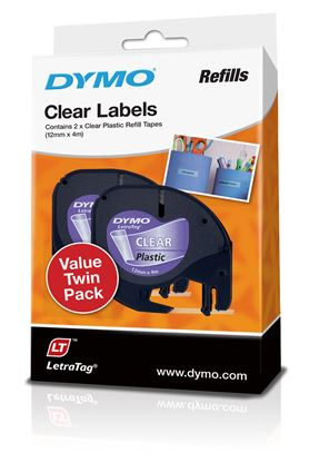 Picture of DYMO Genuine LetraTag Labeller Plastic 2PK Tape. 12mm x 4M Clear.