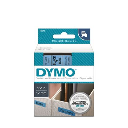 Picture of DYMO Genuine D1 Label Cassette Tape 12mm x 7M,Black on Blue