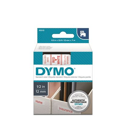 Picture of DYMO Genuine D1 Label Cassette Tape 12mm x 7M, Red on White.