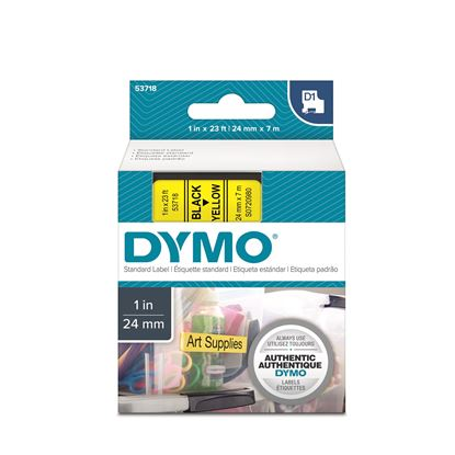 Picture of DYMO Genuine D1 Label Cassette Tape 24mm x 7M, Black on Yellow