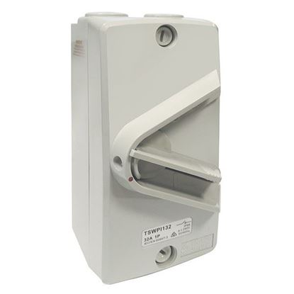 Picture of TRADESAVE Weatherproof Isolator Switch,1 Pole, IP66, 32A, Grey