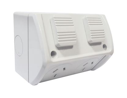 Picture of TRADESAVE Weatherproof Double IP66 Outlet. Grey Heavy Duty