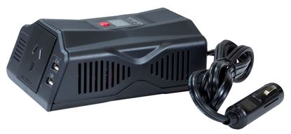 Picture of DYNAMIX 200W Power Inverter DC to AC. Input: 12V DC, Output: 230V AC