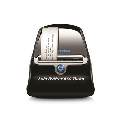 Picture of DYMO LabelWriter 450 Turbo Label Printer. Print up to 71 four-line