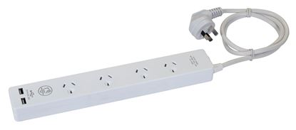 Picture of DYNAMIX 4-way 10A Home & Office Powerboard with two USB 3.4A
