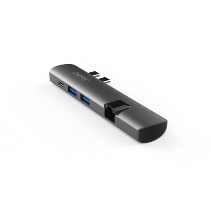 Picture of UNITEK Ultra Slim Dual USB-C Multi-Port Hub. Designed for Apple