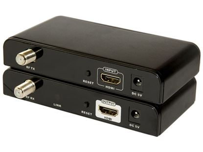 Picture of LENKENG HDMI Extender over Coaxial RG6 Cable Kit. Kit includes: 1x TX