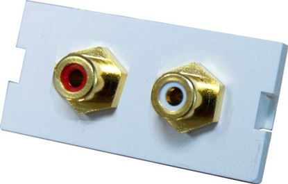 Picture of DYNAMIX 2 RCA Stereo Bezel for AVP-3UFP Plate. Red & White.