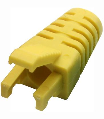 Picture of DYNAMIX YELLOW RJ45 Strain Relief Boot - Slimline with Clip Protector