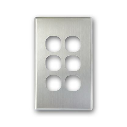 Picture of TRADESAVE Switch Cover Plate, 6 Gang, Silver Aluminium.
