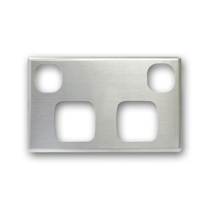 Picture of TRADESAVE Powerpoint Cover Plate Double, Silver Aluminium.