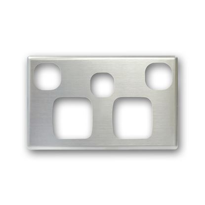 Picture of TRADESAVE Powerpoint Cover Plate Double with Extra Switch, Silver