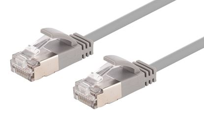 Picture of DYNAMIX 0.5m Cat6A S/FTP Grey Slimline Shielded 10G Patch Lead