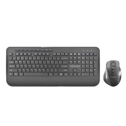 Picture of PROMATE Wireless Ergonomic Keyboard & Contoured Mouse.