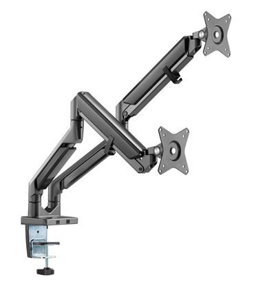 Picture of BRATECK 17'-32' Polished Aluminium Dual Premium Gas-Spring Desk Mount