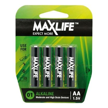 Picture of MAXLIFE AA Alkaline Battery 4 Pack Long Lasting Alkaline Formula.