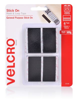 Picture of VELCRO Brand 25mm x 50mm Stick on Hook & Loop Pre-Cut 6 Pack Surface
