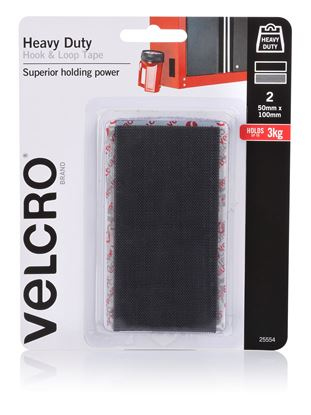 Picture of VELCRO Brand 50mm x 100mm Heavy Duty 2 Pack Hook & Loop Tape.