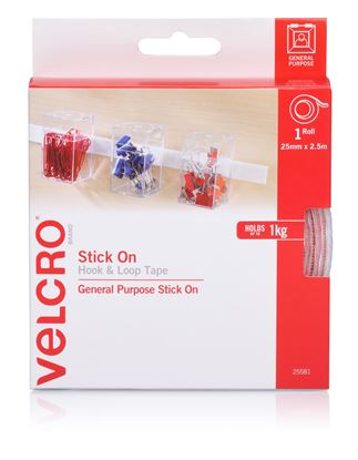 Picture of VELCRO Brand 25mm x 2.5m Stick on Hook & Loop Roll/Tape. Designed for