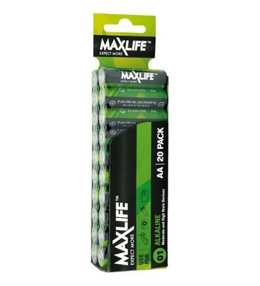 Picture of MAXLIFE AA Alkaline Battery 20 Pack Long Lasting Alkaline Formula.