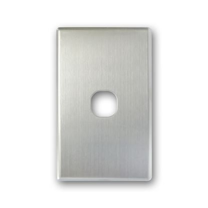 Picture of TRADESAVE Switch Cover Plate, 1 Gang, Silver Aluminium.