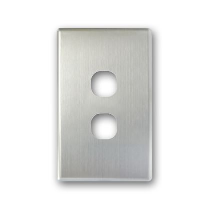 Picture of TRADESAVE Switch Cover Plate, 2 Gang, Silver Aluminium.