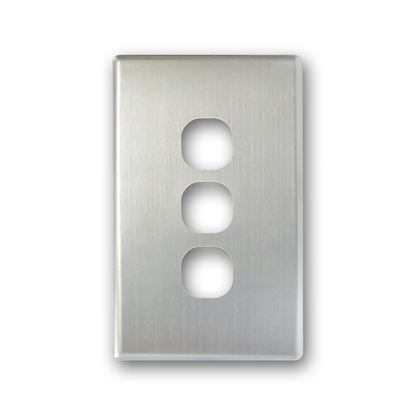 Picture of TRADESAVE Switch Cover Plate, 3 Gang, Silver Aluminium.