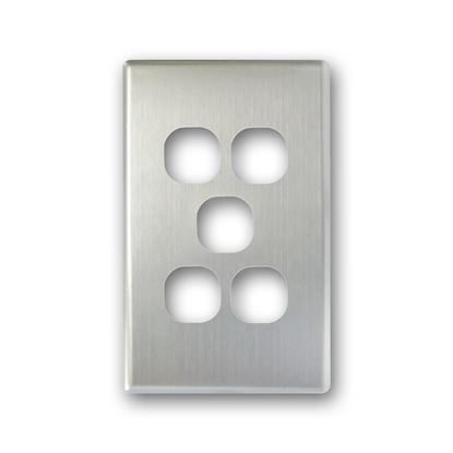 Picture of TRADESAVE Switch Cover Plate, 5 Gang, Silver Aluminium.