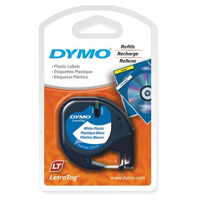 Picture of DYMO Genuine Pearl White Plast Tape for LetraTag Plastic Tape. 12mm x