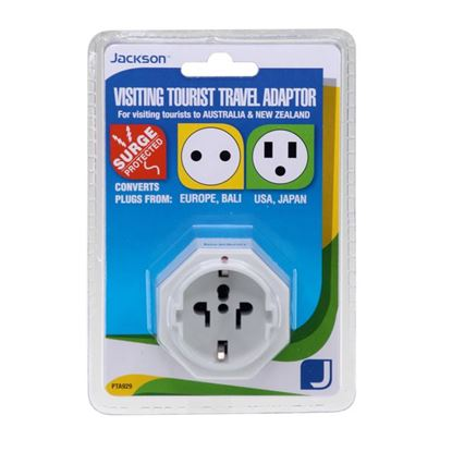 Picture of JACKSON 1x Outlet Travel Adaptor. Converts US, USA/Asian Plugs for
