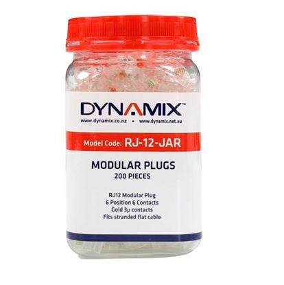 Picture of DYNAMIX RJ12 Plug 200pc Jar, 6P6C Modular Plug. 3 micron.