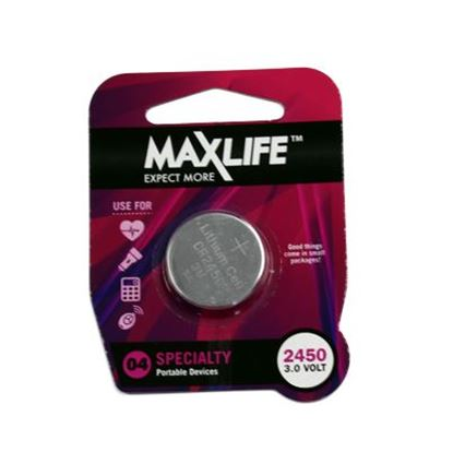 Picture of MAXLIFE CR2450 Lithium Button Cell Battery. 1Pk.