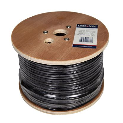 Picture of DYNAMIX 152m Roll RG6 Shielded Cable. Black. 75ohm. 16AWG solid