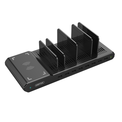 Picture of UNITEK 96W 8-Port USB-A Smart Charging Station with Built-in Qi