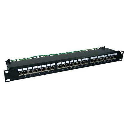Picture of DYNAMIX 24 Port Cat6 Shielded Patch Panel 19'. T568A & T568B