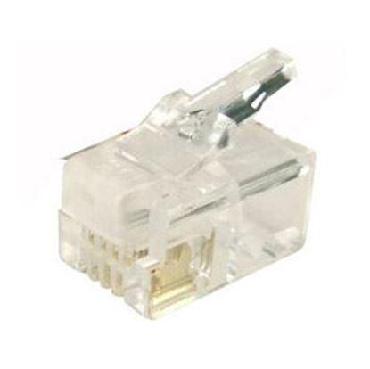 Picture of DYNAMIX RJ14 Plug 20pc Bag, 4P4C Modular Plug. 6 micron.