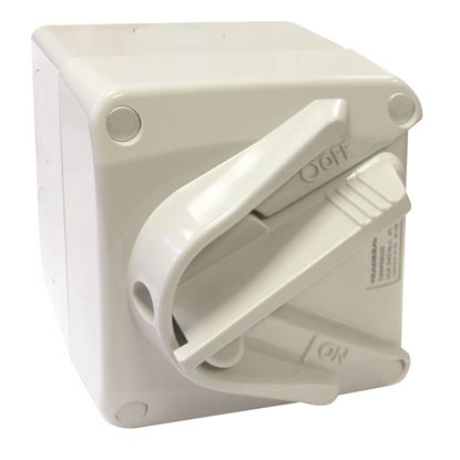 Picture of TRADESAVE Weatherproof Mini Isolator 2 Pole 240V 20A.