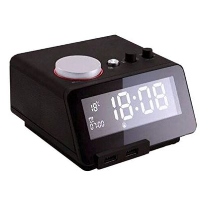 Picture of HOMTIME Bluetooth Alarm Clock Speaker with USB charging. Dual 3W