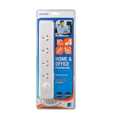 Picture of JACKSON 4-Way Surge Protected Power Board with 1.8m Lead.