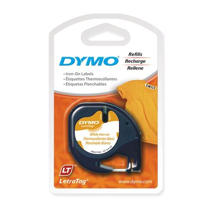 Picture of DYMO Genuine LetraTag Iron-On Labeller Tape. 19mm Black on