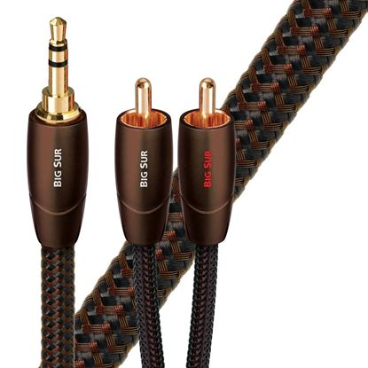 Picture of AUDIOQUEST Big Sur 1M 3.5mm to 2 RCA. Solid perf surface Copper