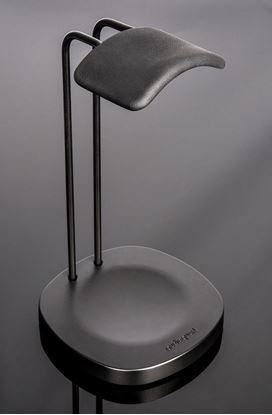 Picture of AUDIOQUEST Perch headphone stand . Easily and safely acommodates all