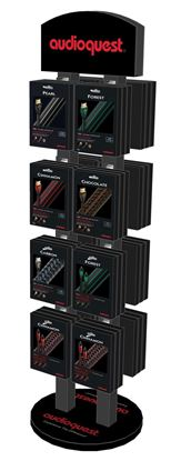 Picture of AUDIOQUEST Stand alone double sided display rack with logo.