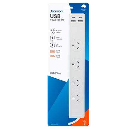 Picture of JACKSON 4-Way Surge Protected Powerboard with 2x USB-A & 2x USB-C