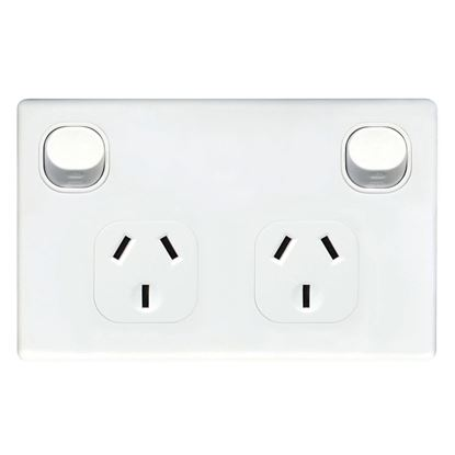 Picture of TRADESAVE Double 10A Horizontal Power Point. Removable Cover