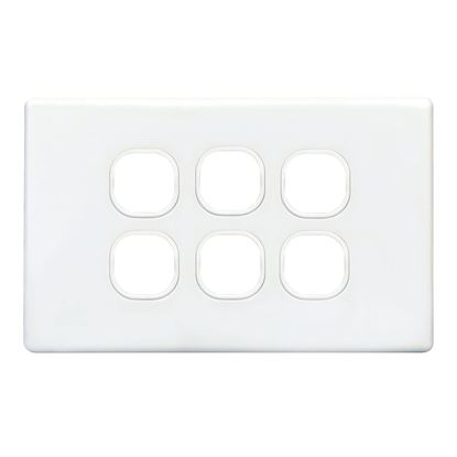 Picture of TRADESAVE Switch Plate ONLY. 6 Gang Accepts all Tradesave Mechanisms.