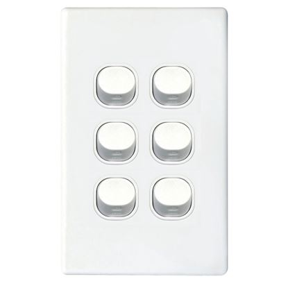 Picture of TRADESAVE 16A 2-Way Vertical 6 Gang Switch. Moulded in Flame Resistant