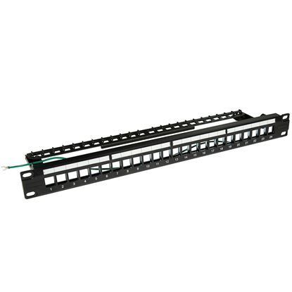 Picture of DYNAMIX Horizontal 19 1RU Unloaded 24 Port STP Patch Panel, with Rear