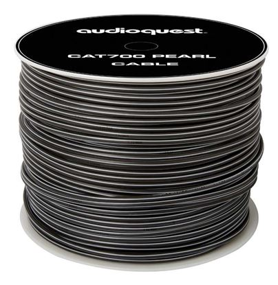 Picture of AUDIOQUEST CAT 7, 152M cable roll. Jacket - white with grey stripes.